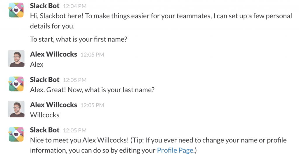 screenshot of an example of the slackbot in slack